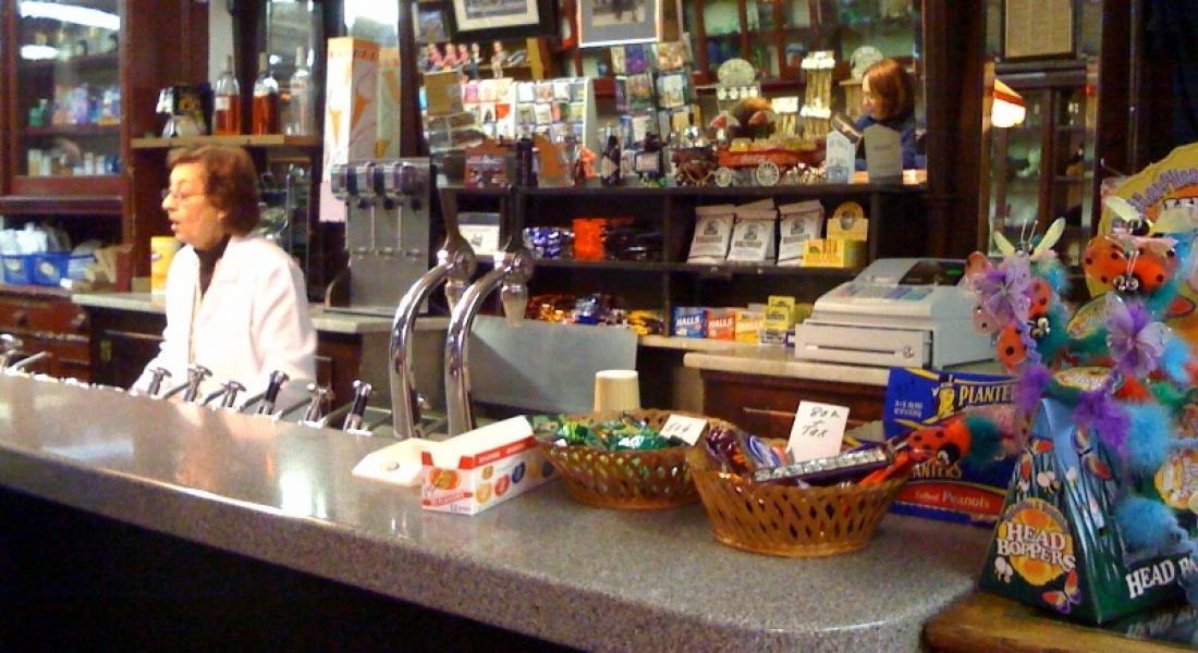 Delekta Pharmacy: coffee cabinets and a working soda fountain!